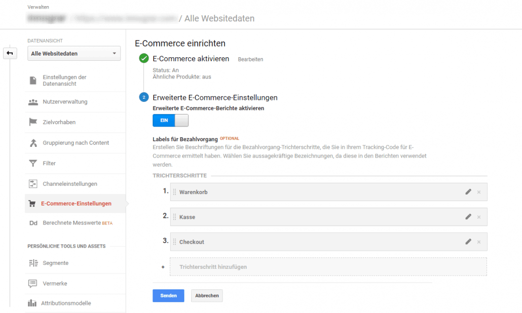 Analytics eCommerce Einstellungen Screen