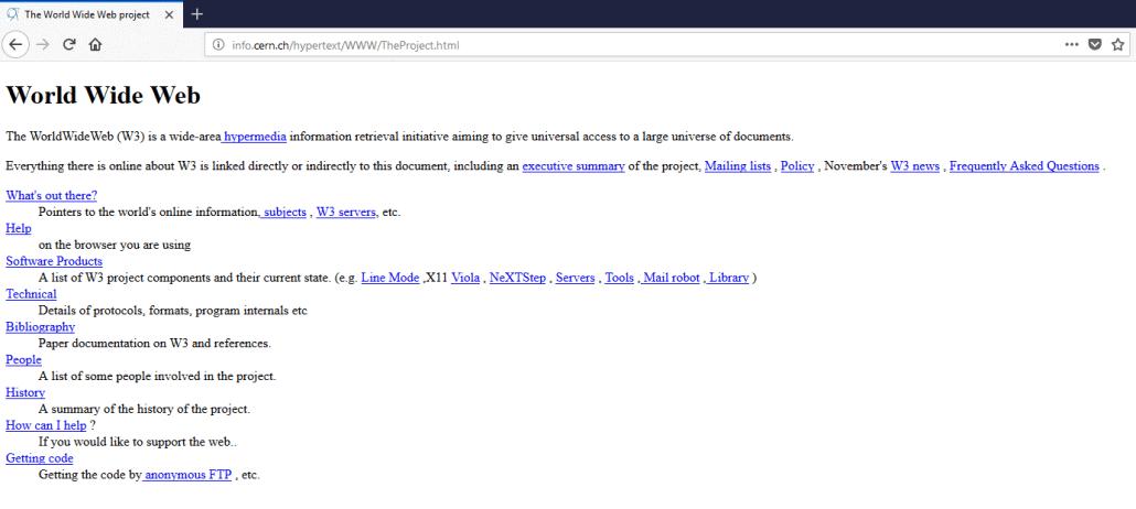Erste Website Internet WWW