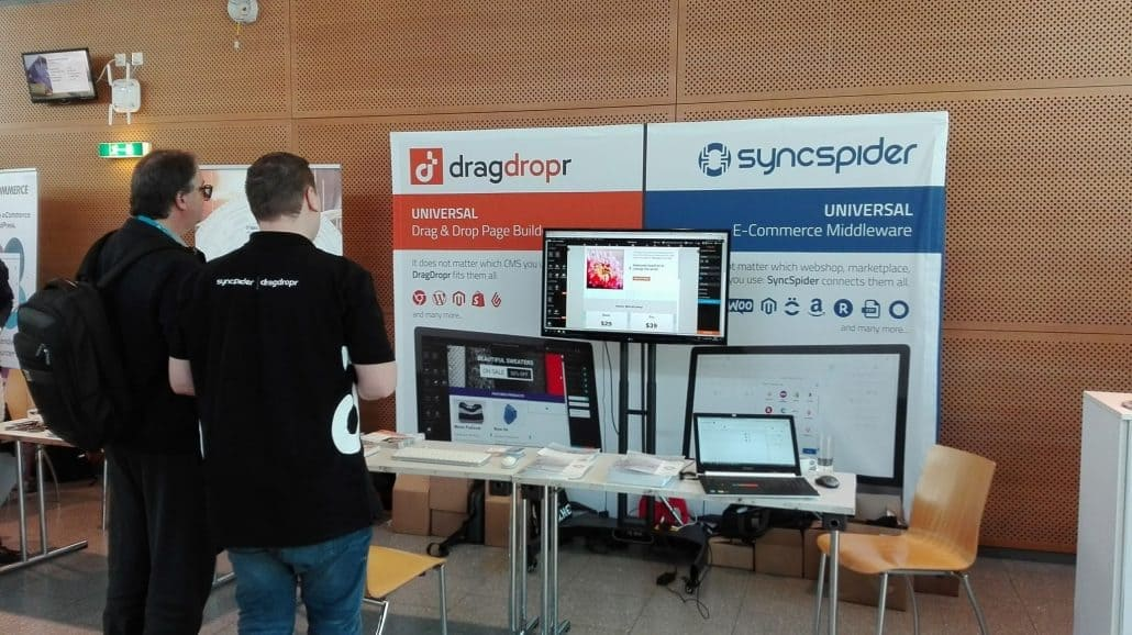 Norbert Strappler am DragDropr Stand beim WordCamp Vienna 2018