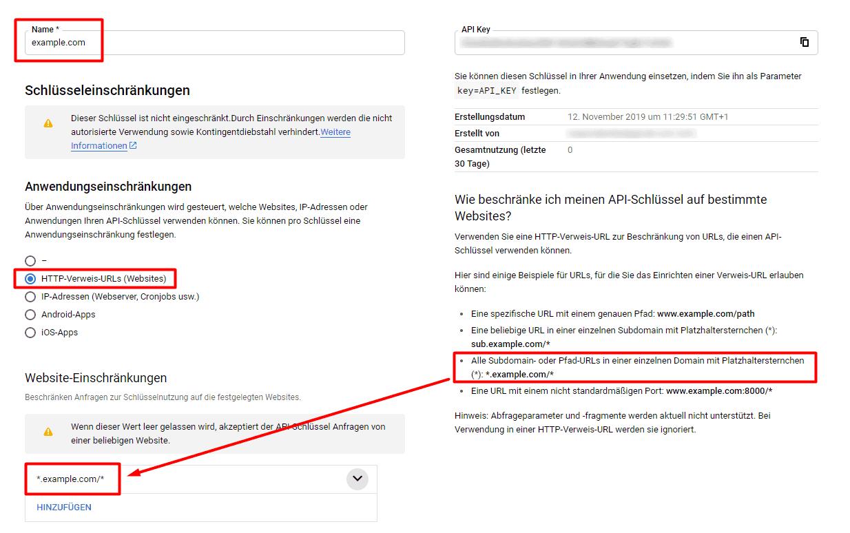 Google API Key einschränken