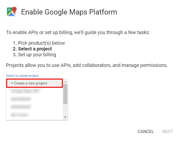 google maps projekt anlegen